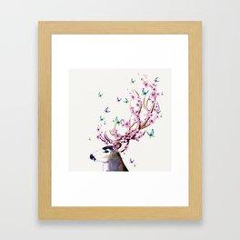 Deer and Flowers II Framed Art Print