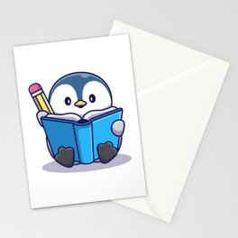 Cute Penguin Writing Book Icon Illustration Animal Icon Concept Isolated Flat Cartoon Style Stationery Cards