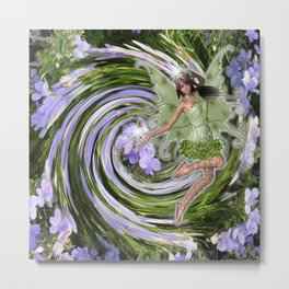 Green Flower fairy Metal Print