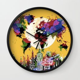 world map watercolor yellow Wall Clock