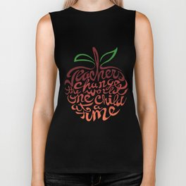 teacher change the world the child at a time teach math Biker Tank