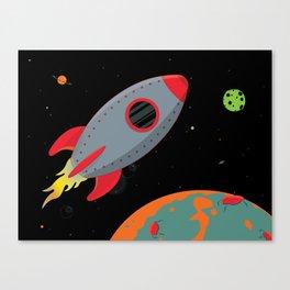 Cute Gray Rocket Ship Canvas Print
