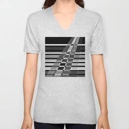 Black and white abstract pattern . The slant line 1. Unisex V-Neck