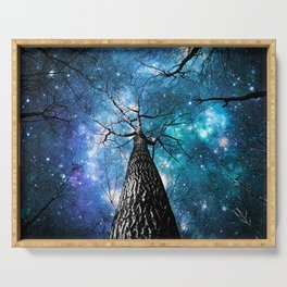 Wintry Trees Galaxy Skies Teal Blue Violet Serving Tray