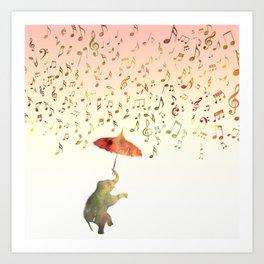 Dancing with Musical Rain Art Print