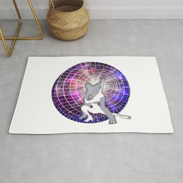 Ice Dancers in Colorful Circular Strobe Light Background Rug