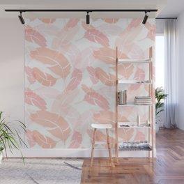 Pink Banana Leaves Wall Mural