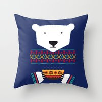 polar bear Throw Pillows featuring Polar Bear by Marco Recuero