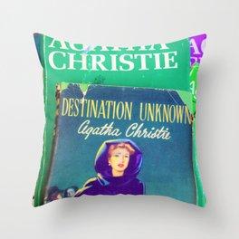 Destination Unknown - Vintage Agatha Christie Throw Pillow