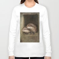 otters Long Sleeve T-shirts featuring The curious otters by Pauline Fowler ( Polly470 )