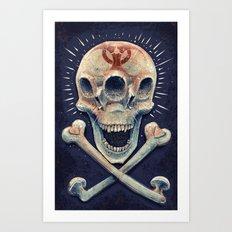 Biohazard triple eye skull Art Print