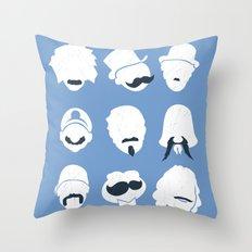 Famous Moustaches blue Throw Pillow