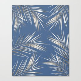 White Gold Palm Leaves on Ocean Blue Canvas Print