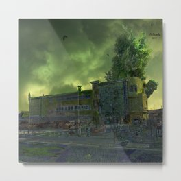 Post Apocalyptic Royton NHS Doctors Building Metal Print