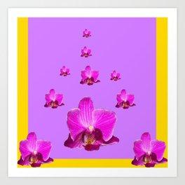 PURPLE ORCHID FLOWERS RAIN YELLOW ART Art Print
