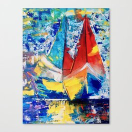 Red boat leads Canvas Print