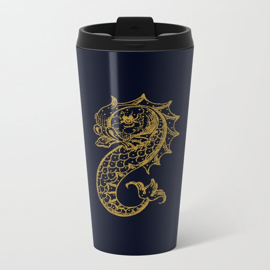 The gold seahorse- Navy blue maritime print with gold ornament Metal Travel Mug