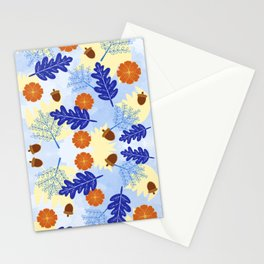 Falling Leaves in Winter Blue Stationery Cards