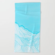 Lines in the mountains - Aqua Beach Towel