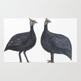 Watercolor painting Guinea fowls Rug