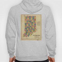 Vintage Indiana Railroad Map (1852) Hoody