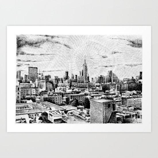 New York City - Fingerprint - Black ink Art Print