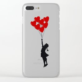 Girl With Heart Balloons Clear iPhone Case