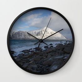 White, blue and grey Wall Clock