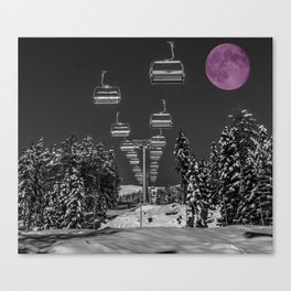 Chairlift to the Fuchsia Moon Canvas Print
