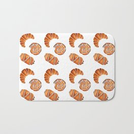French pastries - croissant, chocolate, rasin Bath Mat