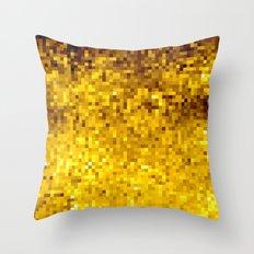 Goldenrod Yellow Pixels Throw Pillow