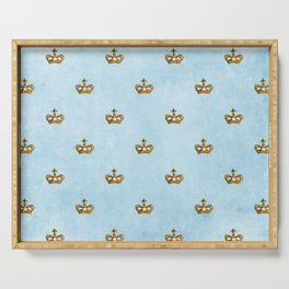 Gold crowns on lightblue watercolor backround - pattern Serving Tray