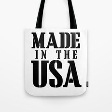 Made in the USA - black text Tote Bag