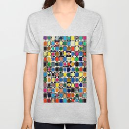 Colorful Rectangles With Texture Unisex V-Neck