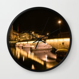 Großmünster At Night Wall Clock