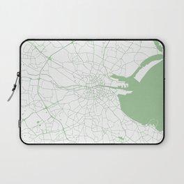 White on Green Dublin Street Map Laptop Sleeve