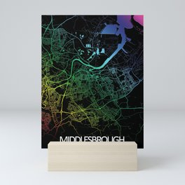 Middlesbrough,England, City, Map, Rainbow, Map, Art, Print Mini Art Print