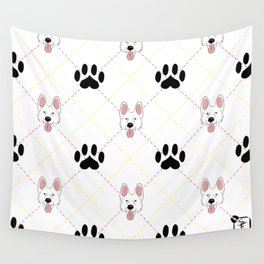 White German Shepherd Paw Print Pattern Wall Tapestry