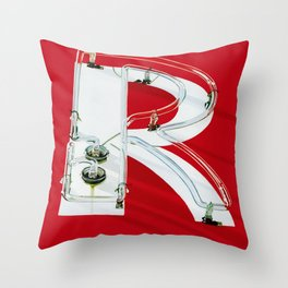 """R""ed Neon Sign Throw Pillow"