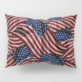 Rustic American Flags Pillow Sham