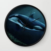 orca Wall Clocks featuring Orca by Wesley S Abney
