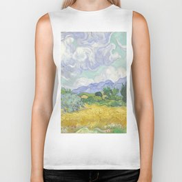 A Wheatfield with Cypresses by Vincent van Gogh Biker Tank