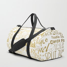 Figure Skating Subway Style Typographic Design Gold Foil Duffle Bag