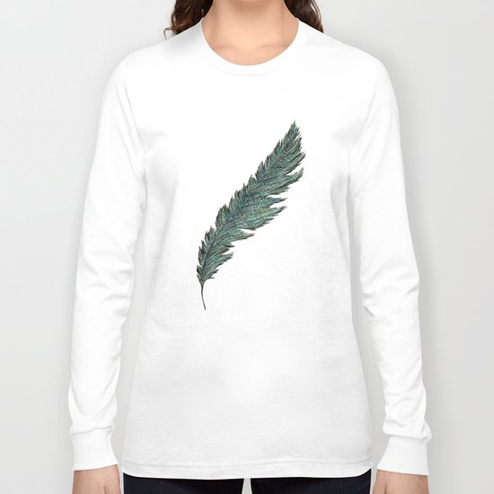 CRAYON LOVE: Aqua Feather Long Sleeve T-shirt
