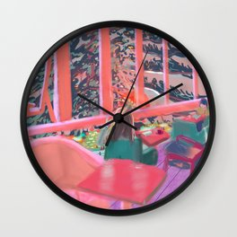 Fauvism Pinkish Cafe in Sunset Mattisse Style Wall Clock