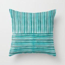 Black, turquoise, white stripes Throw Pillow