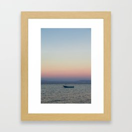rowboat and rainbow sky Framed Art Print