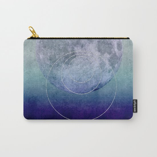 Blue Moon geometric circle mixed media Carry-All Pouch