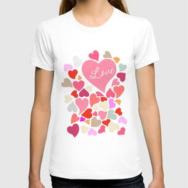 Love Hearts Multicolor Art Print Home Decor Room Furnishing Contemporary Wall Design Graphic  T-shirt