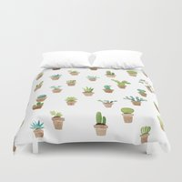 cacti Duvet Covers featuring Cacti by Yardia
